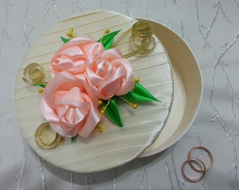 Wooden box, satin ribbon, Wedding Gift, Gift, Home Decor. Box for rings, jewelry box for jewelry