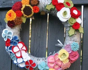 Interchangeable Seasonal Wool Yarn Felt Wreath- Choose 2 Seasons