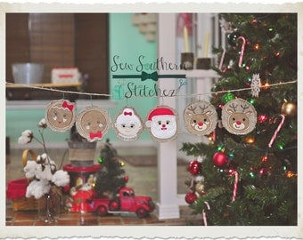 In The Hoop ~ Rustic Applique Christmas Ornaments Designs ~ Instant Download