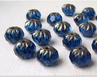 10x7mm Duke Blue Czech Glass Cruellers, FP Rondelle Beads, Blue Czech Glass Beads