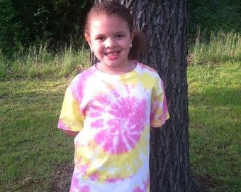 Kids Tie Dye shirts,pink and yellow swirls,youth t shirts,pastel tie dye,kids,tie-dye,summer gifts,spring gifts,trends,hippie shirts,gifts