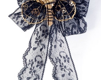 Bumble-Key on a Lace Bow - Steampunk Brooch and Hair-Clip