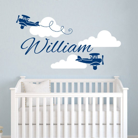 Airplane Wall Decor Nursery : Airplane wall decal name vinyl sticker by trendywalldecals