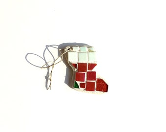 Mosaic Christmas Stocking Ornament, Xmas Art Hanging Piece, Small Tree Trimming, Seasonal Glass Tile Artwork, Gift Under 10