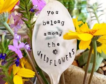 Garden Marker, Stamped Silver, Gardener Gift, Gift For Her, Garden Quote, Stamped Spoon, Alice and Wonderland Quote, Garden Spoon, Garden