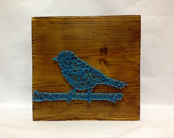String Art Blue Bird Sign Wall Art