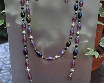 Extra Long Purple and Silver Necklace and Earring Set