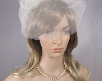 Birdcage Veil, Wedding Veil, Ivory Tulle Cage with 3 Tulle Roses