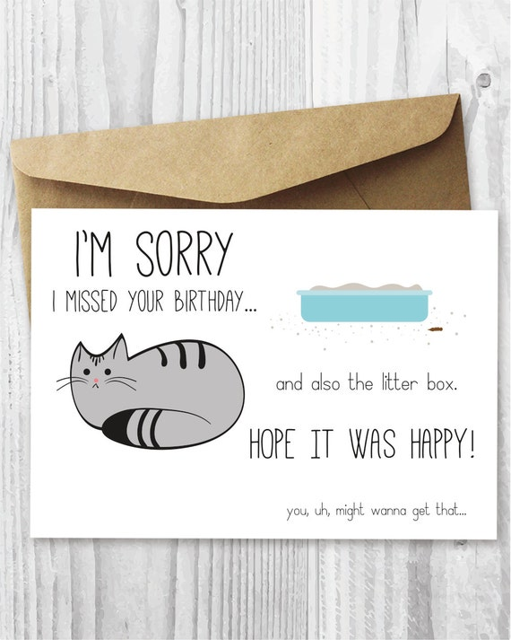 Belated Birthday Card Funny Belated Birthday Digital Card – Birthday Card from Cat