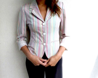 SALE! Beautifully Tailored Vintage Striped Jacket. Size 10. Cropped Sleeve