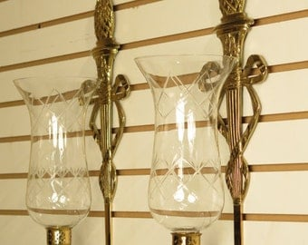 37420E: Pair Virginia Metal Crafters Federal Wall Sconces w/ Glass Globes