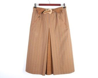 Striped Brown Cotton Skirt Fully Lined Skirt High Waist Belt Size Large