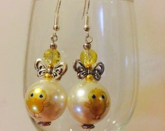 Easter Chick Pearl with Tibetan Spacers Dangle Earrings