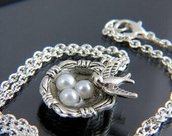 Silver Bird Nest Necklace , Three Bird Nest Necklace,  Mother Necklace Bird, Personalized Necklace,Silver Charm Jewelry,  Lucky Necklace