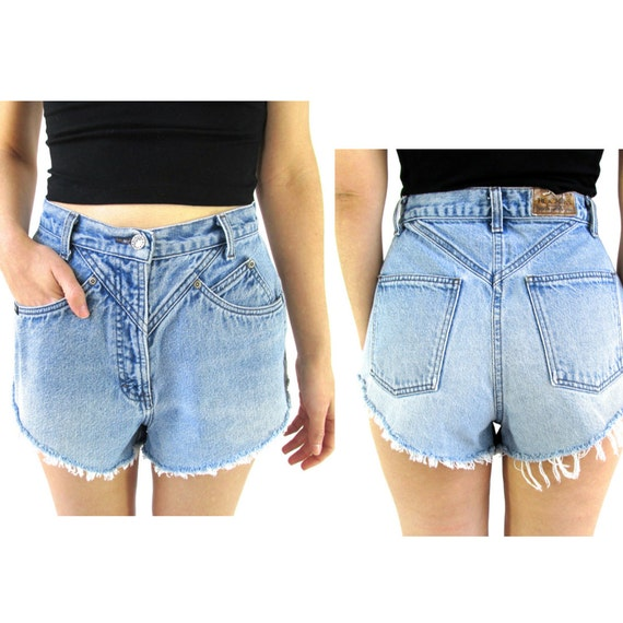 High Waist Denim Shorts 27 Angled Cut Off Shorts 27 Small