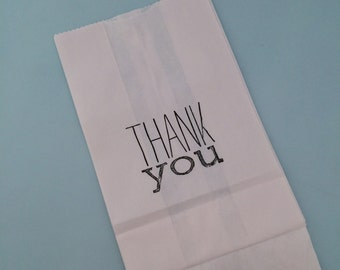 Thank You Party Bags: 10+ White Paper Thank You Bags, Party Treat Bags, Party Supplies