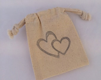Entwined Hearts Favor Bag: Drawstring Muslin Bags, Wedding Favor