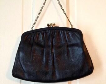 SALE//////Vintage 1950's Black Leather Clutch/Purse