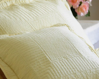 Square light lemon yellow stitch embroidered cushion cover with ties