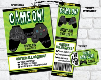 PDF format-Instant Download-Video Game Party Printable-invitation-ticket invitation-access card-game ticket-digital file
