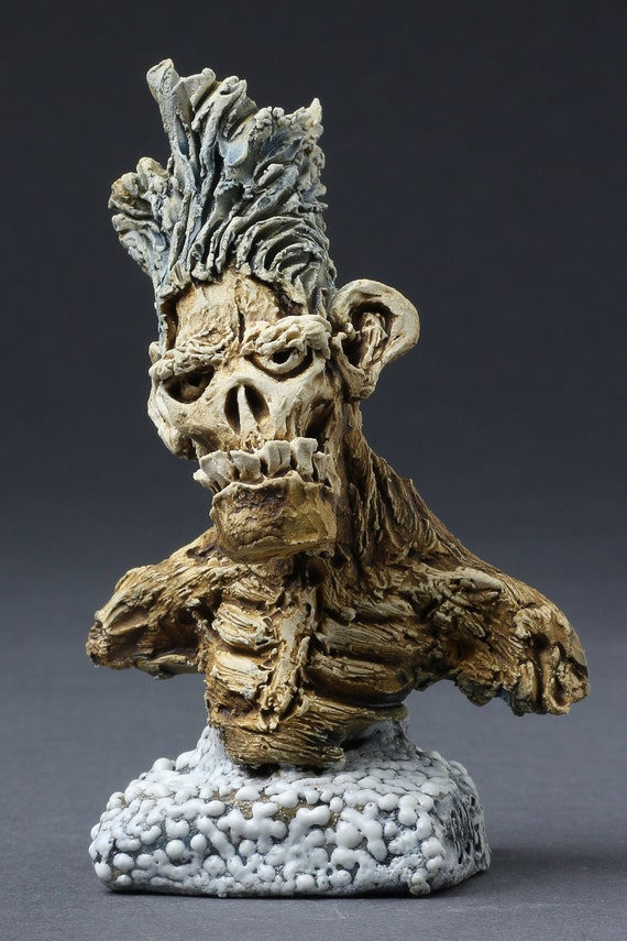 Mini Underbite Zombie Bust - Hand Sculpted - One of a Kind