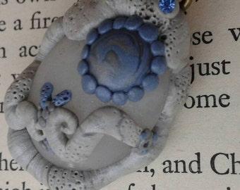 Frozen Amulet   wearable/hangable natural stone poly clay fantasy pendant, trinket,  ornament, necklace
