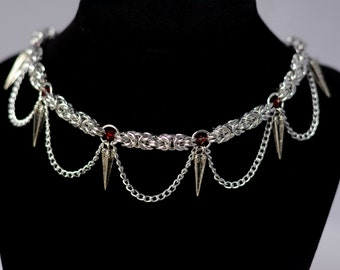 Spiked Chainmaille Statement Collar with Swarovski Crystal
