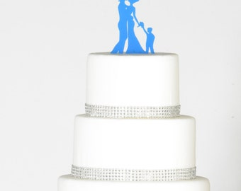 Bride and Groom Silhouette Wedding Cake Topper with a little boy Bride and Groom Dancing Cake Topper son Family wedding topper silhouette ca