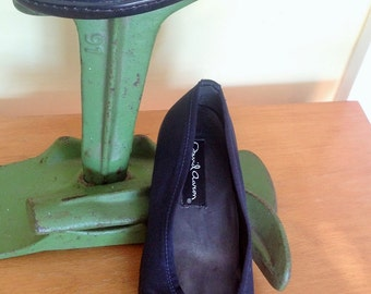 Early 90s Midnight Blue Matte Satin Ballet Flats Size 7.5