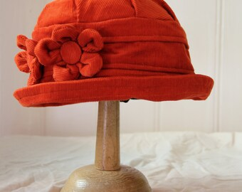 Burnt Orange Rust terracotta daisy flower cloche hat