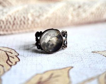 Full moon adjustable ring, antique silver or antique bronze. Choose your finish