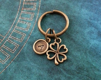 Four Leaf Clover Keychain, VERY SMALL Keyring, St. Patrick's Day Keychain Good Luck Charm Brass Shamrock Keychain St. Patty's Lucky Keychain