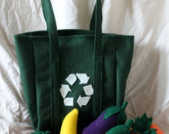 Pretend Play FOOD - Felt fruit and veggies with shopping bag - Farmers market / Kitchen