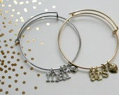 Adjustable Personalized Initial Charm Bangle Bracelet Silver or Gold