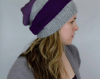 Knitted Slouch Hat, Purple and Gray Beanie,Striped Snow Cap, Oversized Knit Beanie, Hand Knit Baggy Hat, Loose Fit Hat for Teens and Adults