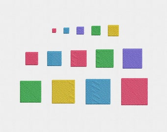 Mini Squares Machine Embroidery Design - 12 Sizes