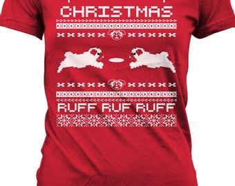 Pug Christmas T Shirt Pugly Christmas Shirt Ugly Christmas Sweater T-Shirt Gifts For Christmas Holiday Season Mens Youth Tee MD-291