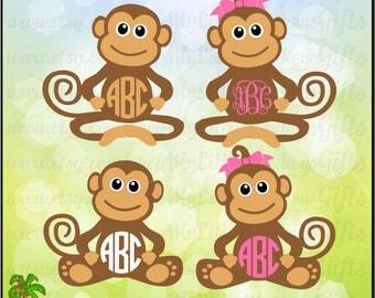 Monkey ~ Monkey SVG ~ Monkey Monogram ~ Kids SVG ~ Kids Shirt ~ Monkey Clipart ~ Commercial Use SVG ~ Clip Art ~ Cut File ~ eps dxf png jpeg