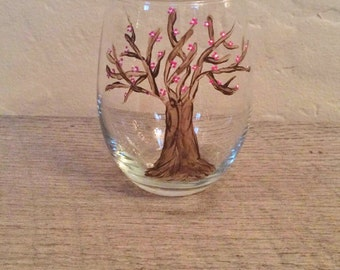 Pink flowered tree hand-painted wine glass