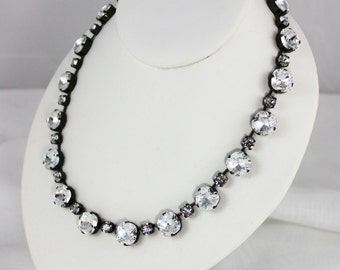Classic Crystal 12mm Cushion Cut and 6mm Chaton Swarovski Crystal Necklace