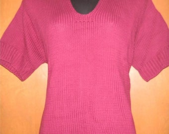 Clifford & Wills Burgundy Short Sleeve Collared Shaker Knit Sweater ~ MEDIUM