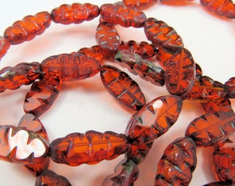 Burnt Orange Amber Dagger Beads Transparent Picasso Table Cut Czech Glass Beads  ZigZag Long Oval Marquise 8x18x5mm,10 Beads CTC033