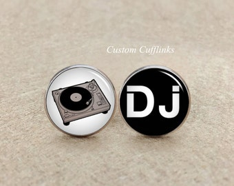 DJ Cufflinks,Music Cufflinks,Mens Wedding Jewelry for Groom Groomsmen Best man Father Of The Bride,Music lover. groom cufflinks, dj lover