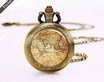 Pocket-Watch, vintage map pocket Watch, world map pocket watches, Silver Watch Necklace, Anchor pocket watch ,unique gift, Mothers Day Gift