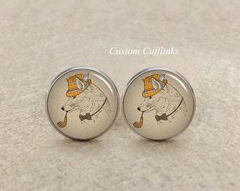 Fox Cuff Links, Mr. Fox Cufflinks, wolf Cufflink, Vintage cufflinks, fiance,friends cufflinks,handmade cufflinks,silver round Cufflinks