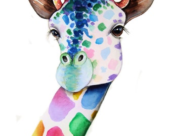 GIRAFFE signed art print from an original watercolour painting by artist Maria Moss. Available in 4 sizes.