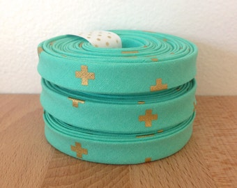 "Bias Tape in Cotton + Steel Basics XOXO 1/2"" double-fold bias tape- Toy boat aqua blue and metallic gold- 3 yard roll"