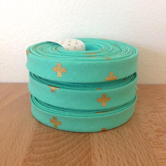 "Bias Tape in Cotton + Steel Basics XOXO 1/2"" double-fold bias tape- Toy boat aqua blue and metallic gold- 3 yard roll"