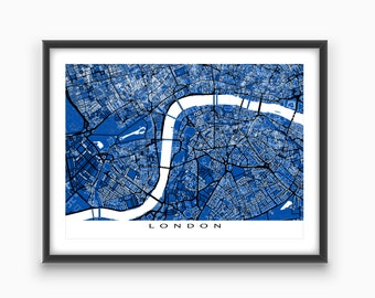London Art, London Map Print, London UK England, Blueprint City Maps