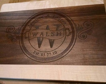 "Laser Etched Cutting Board Customized 15x11""  Wedding Gift House Warming Gift"
